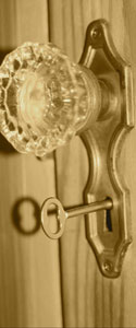 Door knob with skeleton key